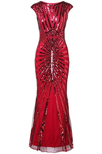 ArtiDeco 1920s Kleid Damen Maxi Lang Vintage Abendkleid Gatsby Motto Party 20er Jahre Flapper Kleid Damen Kostüm Kleid (Weinrot, M)