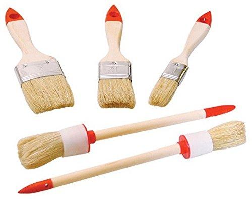 Pinselset 5-tlg. | Pinsel Flachpinsel und Rundpinsel | Holzstiel mit hellen Borsten