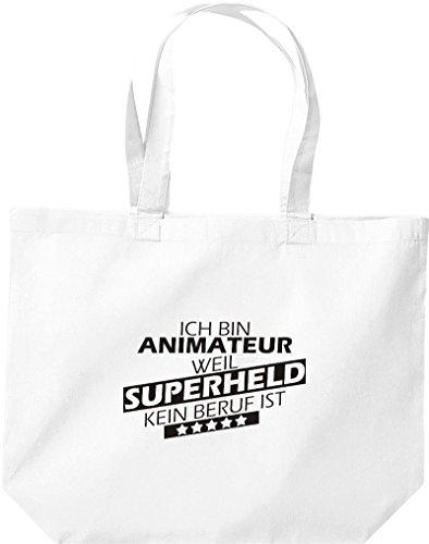 Shirtstown große Einkaufstasche, Ich bin Animateur, weil Superheld kein Beruf ist, weiss