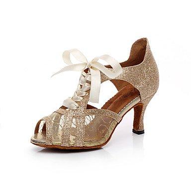Silence @ Chaussures de danse pour femme en similicuir en similicuir Latin Sandales Stiletto Talon Practise/débutants/Professional/Indoorblack/ doré