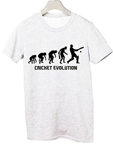 Tshirt Cricket Evolution - evolution - cricket- sport - humor - in cotone Bianco