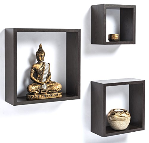 Bluewud Wall Shelf & Display Rack - SkyBox Wenge (set of 3)