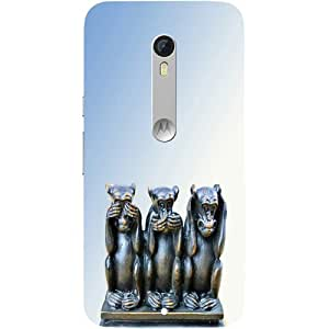 Casotec Wise Monkey Design Hard Back Case Cover for Motorola Moto X Play