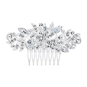 Ever Faith Damen Haarkamm Österreichischen Kristall Elegante Hochzeit Braut Blume Haar Kamm Schmuck Klar Silber-Ton