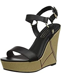 Tommy Hilfiger Elevated Leather Wedge Sandal, Sandalias con Plataforma para Mujer