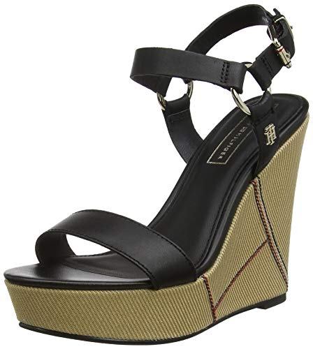Tommy Hilfiger Damen Elevated Leather Wedge Sandal Plateausandalen, Schwarz (Black 990), 37 EU - Sandalen Frauen Schuhe Wedges