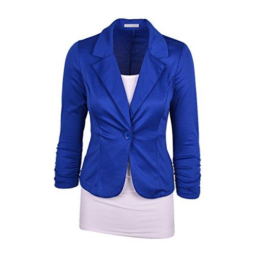 CHENGYANG Veste de tailleur Manches 3/4 Un Boutons Uni Veste Manteau Blazer Court Femme Bleu