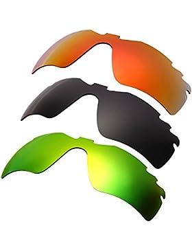 Hkuco Mens Replacement Lenses For Oakley RadarLock-Edge Red/Black/Emerald Green Sunglasses