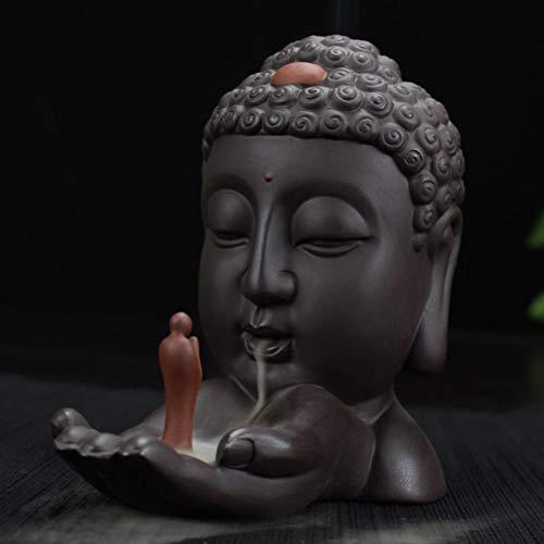 Quemador de incienso con diseño de estatua de Buda de flujo de reflujo, quemador de incienso de cerámica de reflujo en casa marrón