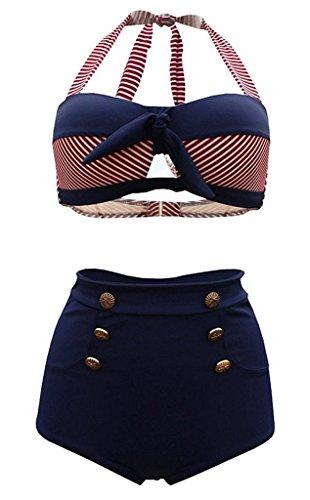 SISSIJOE Damen Bunt Retro PinUp Vintage Bikini mit hoher Taille Bademode Badeanzug Streifen Rot X-Large