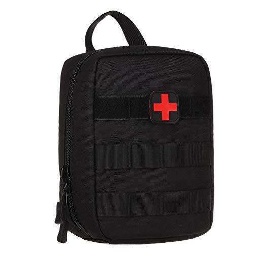 Huntvp Molle Erste Hilfe Tasche mit Rotkreuz Patch Leer taktisch Notfalltasche Wasserdicht Gürteltasche Kleine MedizintascheEDC Pouch Militärisch Medikamententasche - Schwarz