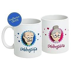 Idea Regalo - MyOma - Set di tazze per nonno e nonna [testo in lingua tedesca], biglietto di auguri incluso