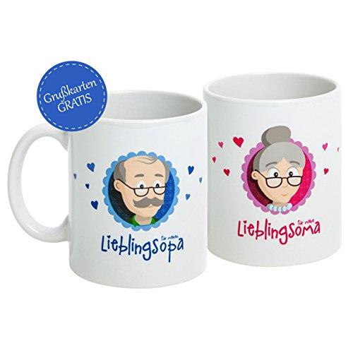 """Oma Opa Geschenke * Geschenk für Oma und Opa * Oma Tasse und Opa Tasse Set \""""Für meine/n Lieblingsoma/opa\"""" als super Oma und Opa Geschenkideen - Geschenk Oma und Geschenk Opa mit GRATIS Glückwunschkarte - Oma Geschenk und Opa Geschenk zu Weihnachten und Geburtstag von MyOma - sofort lieferbar"""