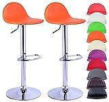 WOLTU BH18 Serie Design 2 x sgabello duhome, regolazione altezza, acciaio cromato, cura leggero PVC ecopelle, bene con seduta imbottita, antiscivolo in gomma arancione
