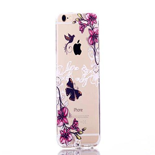 iPhone 5/5S/se case, Jiejiewyd antiurto flessibile morbido silicone gomma TPU + PC bumper cover per iPhone 5/5S/se–arancione farfalla/fiore TCH08