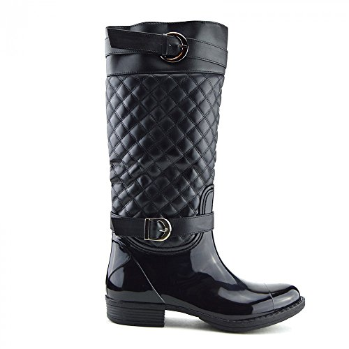 Kick Footwear Ladies knee high fur lined quilted zip up wellington boots Schwarz-Model Nr. 2