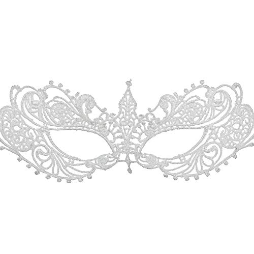 Genuine White Lace Elegant Mask for Masquerade Prom Halloween Carnival Mask Ball