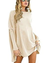 Minetom Donna Autunno Inverno Manica Lunga Maglietta Tops Eleganti Tinta  Unita Maglia Blusa Camicia Pullover Sciolto 8b59e8137d1