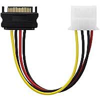 conecto CC20114 Netzteil-Adapter Kabel 15-polig SATA-Anschluss auf 4-polig IDE, 15 cm Schwarz