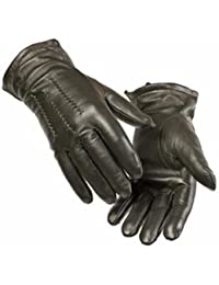 Quivano Mens Premium Quality Genuine Soft Leather Traditional Style 3 Point Gloves # 302-200