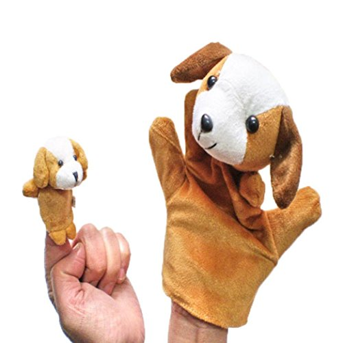 Huhu833 2pcs Tier Fingerpuppe Plüsch Kind Baby Früherziehung Spielzeug Geschenk Kuh / Panda / Frosch / Maus / Hund / Elefant / Kaninchen / Ente (Khaki)
