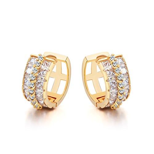 Ohrstecker Klappbügel Ohrringe Damen - 18K Vergoldet - AAA Zirkonia (Wickeln Verschluss Vorne)