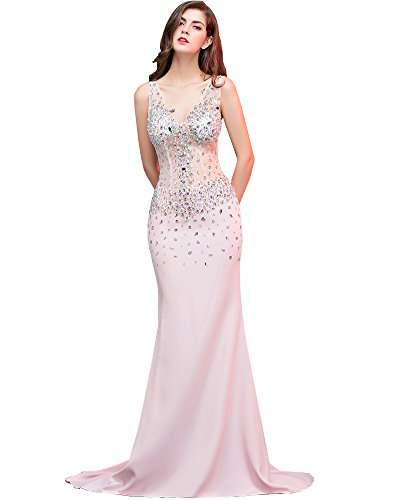 Erosebridal Doppelt V-Ausschnitt Abendkleid Meerjungfrau Fischschwanz Cocktail Kleider Rosa