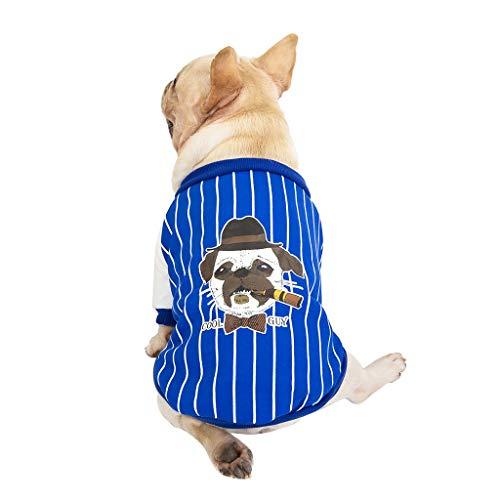 Xmiral Nuovo Stile di Moda Giacche per Animali d'Autunno e Confortevole Mantenere Caldo Abbigliamento per Cani Gatto (S,Blu)