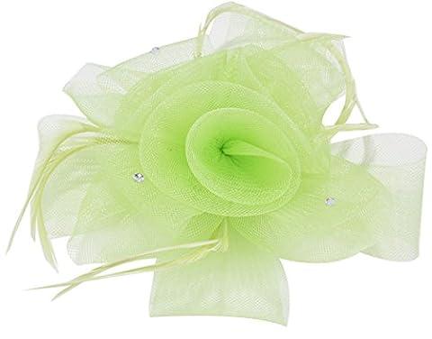 Femmes Mini Chapeaux avec Plume Fleur Barrette Broche Corsage Mariage, Light Green, Taille unique