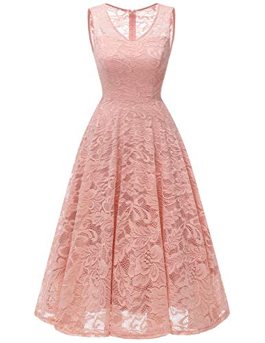 Meetjen Damen Elegant Spitzenkleid V-Ausschnitt Unregelmässig Vokuhila Kleid Festlich Cocktail Abendkleid Midi Blush XS - Kurz V-ausschnitt Kleid