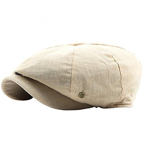 Einstellbare Achteckige Mütze Männer Frauen Einfarbig Retro-Stil Flache Kappen Hatteras Gatsby Beige