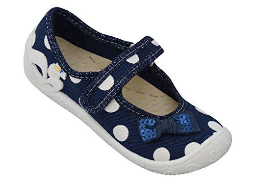 3f freedom for feet Mädchenschuhe mit Klettverschluss - Bunte Kinderschuhe - Babyschuhe zur Kindergarten Größe 25 bis 30 (Echtes Leder Einlegesohlen) (29, Blau mit weißen Punkten 3A2/3)