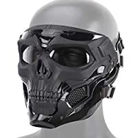 MOGOI Airsoft Skull Mask, Full Face Protective Masks for Airsoft Paintball Outdoor Cs War Game BB Gun Halloween Skeleton Masks Party Cosplay Mask Movie Props