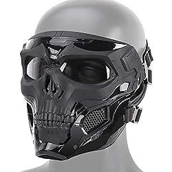 Crâne Tactique Airsoft Masque, Masque de Protection Complet du Visage Paintball CS Hockey Halloween Mascarade Cosplay Masque de Protection des Yeux Squelette,Noir
