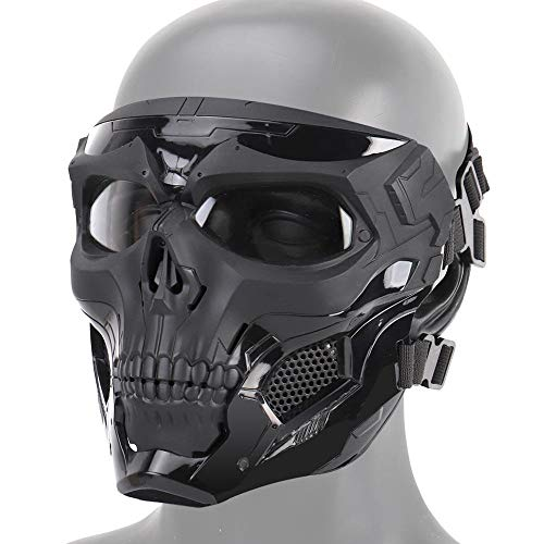 Taktische Schädel Airsoft Maske, Vollgesichtsschutzmaske Paintball CS Hockey Halloween Maskerade Cosplay Augenschutz Skeleton Maske für Outdoor Aktivitäten Party Filmrequisiten,Schwarz