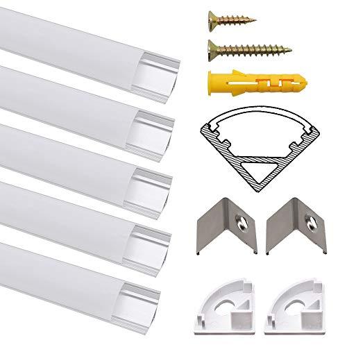 LED Aluminium Profil, Jirvyuk Led Aluminium Leisten 5 Pack 1M/ 3.3ft V-Form Aluminium Extrusion Milchig Deckel Endkappen Metall Befestigungs Clips (Silber-V)