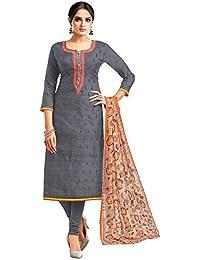 Applecreation Women's Cotton Chanderi Salwar Suits Material (Grey_Salwar Suit_21DMK627_Free Size)