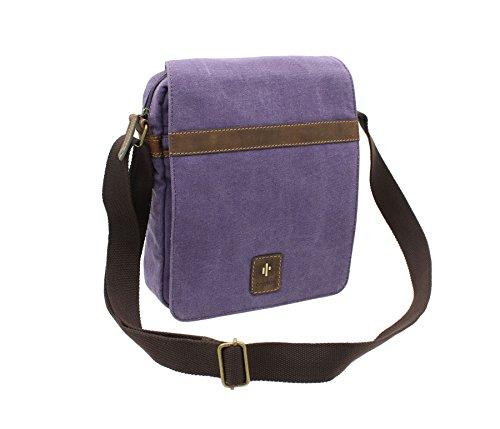 CACTUS Leinwand und Distressed Fettleder Messenger Bag CM815_81 Lila