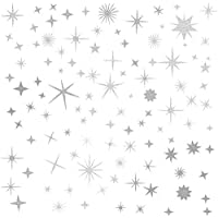 Easma Sparkle Decals Star Decals, Nursery Wall Decal, Kids Room Decor, Star Wall Decor, Sparkle Wall Art, Baby Room Star Wall Sticker Peel&Stick Removable Decals (Vintage Silver)