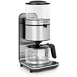 Klarstein Soulmate - Machine à café, Cafetière filtre 10 tasses, Puissance de 1800 W, Volume de 1,25 L, Verre & inox