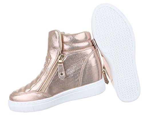 ... Damen Freizeitschuhe Schuhe Keilabsatz Wedges Sneakers Stiefelette  Bronze Rosa Silber 36 37 38 39 40 41 ... 585de4993e