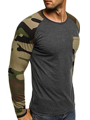 OZONEE Herren Longsleeve Sweatshirt Langarmshirt Camouflage Armee Militärstil ATHLETIC 1086 Dunkelgrau_ATH-1089_LO
