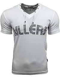 Rusty Neal Herren Kurzarm Nieten T-Shirt Weiß/Schwarz/Braun/Blau A-1519 Neu, Größe:XXL, Farbe:Weiß