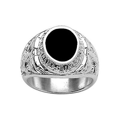 Marine Corps Ring (So Chic Schmuck - Siegelring Ring Fingerring US Marine Corps Oval Schwarzer Onyx Sterling Silber 925 - Größe 55)