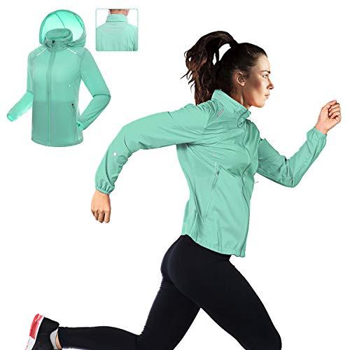Fazitrip Jacke Damen Softshell Jacke Trainingsjacke Ultraleicht Wasserabweisend Jacken, mit Kapuze Damen Jacke, Grün L - Schützende Kapuzen-jacke