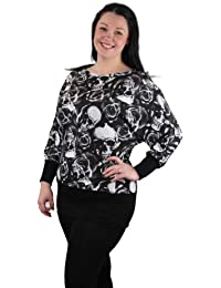 Plus Size Skull and Rose Banded Batwing Top