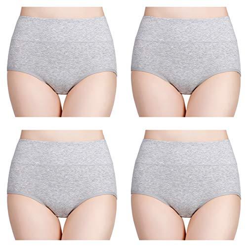 wirarpa Damen Unterhosen 4er Pack Panties Slips Damen Unterwäsche mit Hoher Taille Ultra Weich Taillenslip Grau Größe L (Baumwolle Damen-unterwäsche)