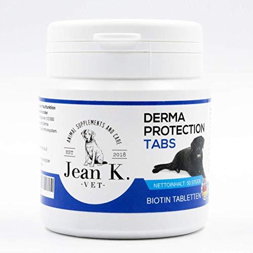 Jean K. - vet - Derma Protection Tabs | Biotin Tabletten für Hunde | Mit Zink, Calcium und Vitaminen für gesunde Haut und seidiges Fell | 50 Stück
