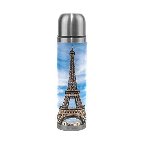 Isaoa Thermos Ciel Bleu Tour Eiffel en acier Gourde thermos Thermos anti-fuites Isolation sous vide Bouteille thermos à double paroi pour café chaud ou froid à thé (500 ml 479,1 gram coloré)
