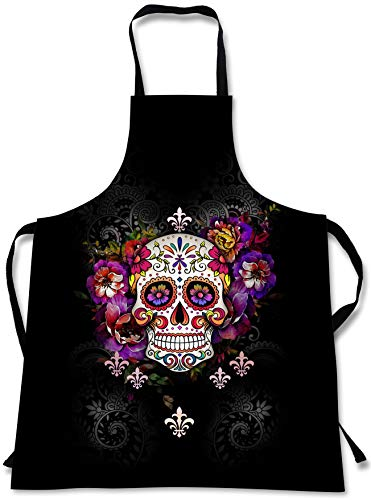 Halb Mädchen Kostüm Tot - Sweet Gisele Kochschürze mit Totenkopf-Motiv, 3D-Druck, Kochschürzen, tolles Geschenk für Zuhause, Küche, Souvenir, weich, Reisezubehör, 1 Größe, verstellbar, Unisex